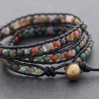 Leather Wrap Beaded Jasper Bracelet by XtraVirgin on Etsy
