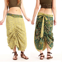 Green yellow long Wrap skirt, 2 sided, reversable patterns, Earthy natural tones