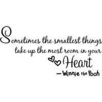 "Amazon.com: Winnie the pooh Quote Wall Art decor decal "" Sometimes the smallest things take up the most room in your heart "" winnie saying Wall Sticker Decal for child Bedroom decor Birthday Gift for boys and girls: Home & Kitchen"