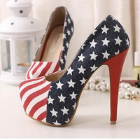 Vogue 14cm Sexy Party Pumps Shoes US Flag Stiletto platform High Heels Size 9