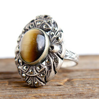 Vintage Art Deco Tiger's Eye Ring -  Size 6 3/4 Sterling Silver Shank Jewelry / Marcasite Shield Ring