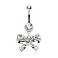 Amazon.com: Fancy Clear Bow Tie CZ Belly Navel Ring Gem Paved Button Piercing Jewelry: Jewelry