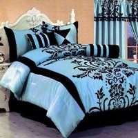 "Amazon.com: 7 Pc Modern Black Blue Flock Satin Comforter (90"" x 92"") SET / BED in a BAG - Queen Size Bedding: Home & Kitchen"