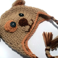 Brown Puppy Baby Wool Earflap Hat Photo Prop