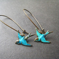 Teal Bird Earrings Brass Bronze Blue by ohdeercreations on Etsy