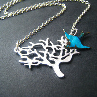 Tree Necklace Sterling Silver Teal Blue Bird by ohdeercreations
