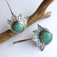 Lotus Earring  Sterling Silver Lotus Flower Turquoise by Mocahete