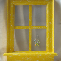 Window Frame Jewelry Hanger  Yellow by AFishWhoLikesFlowers