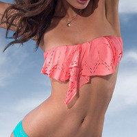 L*Space Laser Cut Watermelon Bandeau Bikini | Mermaids Boutique