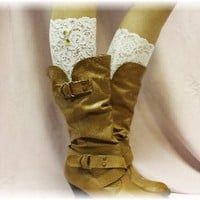 LC1 White Stretch Lace Boot Cuffs