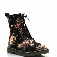 floral-combat-boots BLACK - GoJane.com
