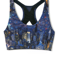 City Print Liberty Sports Bra by Lucas Hugh for Preorder on Moda Operandi