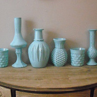 7 pc upcycled Tiffany Blue Vases ..  table decorations ... Wedding ... Party ... Cottage chic