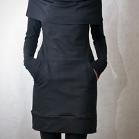 Black Cowl Neck Pocket Tunic