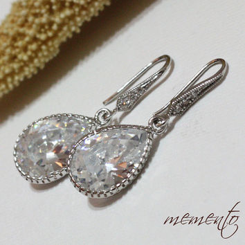 Anabela Silver Pleated Cubic Zirconia Earrings by by MyMEMENTO