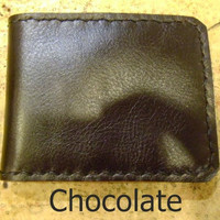 chocolate leather man's wallet  handmade