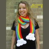 Rainbow Scarf Clouds Crochet by ManifestedDreams on Etsy