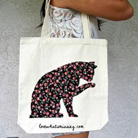 Love What&#x27;s Missing | Pink Roses Cat Tote | Online Store Powered by Storenvy