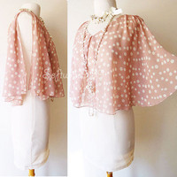 NEW Cream Pink Beige Vtg Polka Dot Chiffon Pleated Cape Cute MOD Bodycon Dress