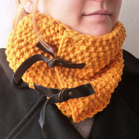 Knitted Mustard CowlNeckwarmer with Black by buggarenovated