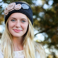 Knit grey headband with an assortment of by KathleenRoseAmor