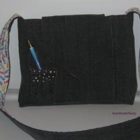 Jeans Bag with some bling by handmadefuzzy on Zibbet