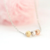 Tri-Color tiny textured balls necklace