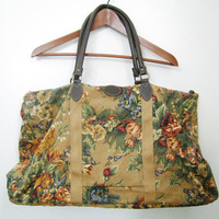 Vintage Canvas Overnight Bag Large Floral by CutandChicVintage
