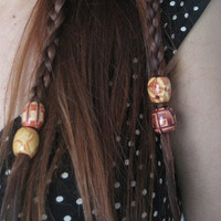 Wooden Dread Lock Rasta Braid Hair Decoration Painted Wood Dreadlock Beads