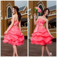 Ball Gown Strapless and Sleeveless Design Bowknot Embellished Satin Cocktail Dress China Wholesale - Sammydress.com