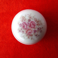 Small Vintage Box - White Porcelain with Pink Roses