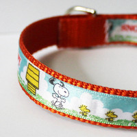 Vintage Snoopy Ribbon Dog Collar 3/4 wide by TheWhiteSchnauzer