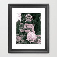Cherub and rose Framed Art Print by Vorona Photography | Society6