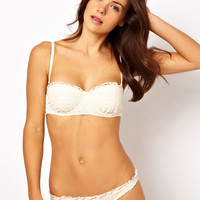River Island Cream Crochet Bikini at ASOS
