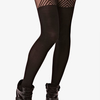 Black Triangle Suspender Tights at Fashion Union