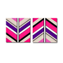 Original 2 piece abstract painting. Geometric with neon pink, purple, black, and white.