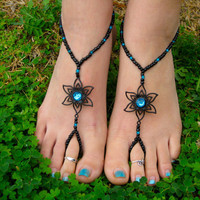Black with Teal Flower Barefoot Sandals Slave by HouseOfBlaise