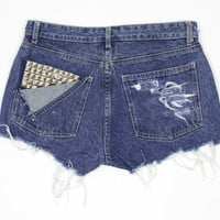 RIVERS Regular Fit Blue Pyramid Studded & by shopbigbadwolf