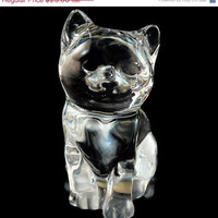 50% OFF SALE Vintage 24 Percent Lead Crystal Cat / Figurine / Paperweight from Princess House