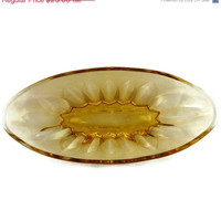50% OFF SALE Vintage Amber Oblong Depression Glass Relish Dish / Bowl