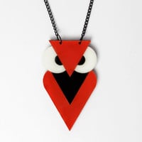 FREE SHIPPING Red Owl Necklace