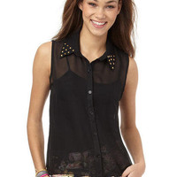 Studded Collar Chiffon Shirt