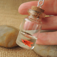 Goldfish Necklace, Miniature Fish in Bottle Pendant