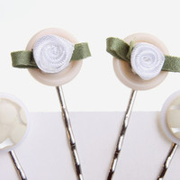 bobby pins white and cream buttons and satin by WakeUpTheAngel