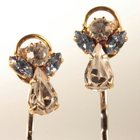 rhinestone angel bobby pin set pair repurposed by WakeUpTheAngel