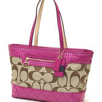 # Coach Signature Lip Gloss Shopper bag Tote 18676 Khaki Magenta