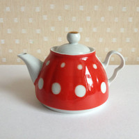 Vintage porcelain tea pot - polka-dotted red white - USSR Russia soviet
