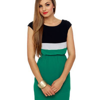Cute Nautical Dress - Navy Dress - Green Dress - Color Block Dress - &amp;#36;42.00