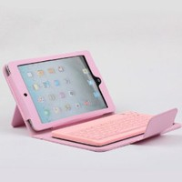 Amazon.com: Pink Protective Faux Leather Bluetooth Keyboard Case Quiet Keystroke Dust Proof For Apple iPad Mini: Computers & Accessories
