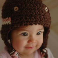 Pink And white Stripe Brown Pilot Hat Newborn and 03M by beliz82